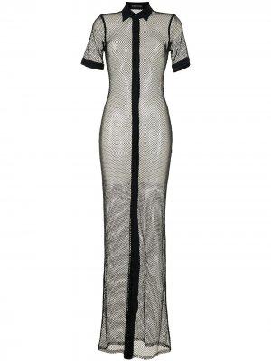 Платье-рубашка с кристаллами David Koma. Цвет: черный
