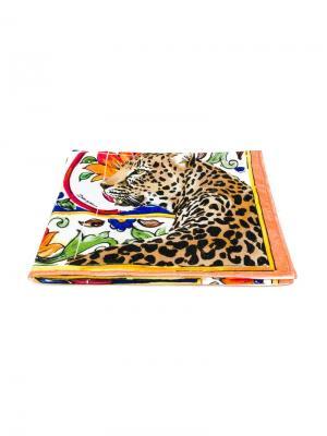 Пляжное полотенце с леопардовым принтом Majolica Dolce & Gabbana. Цвет: разноцветный