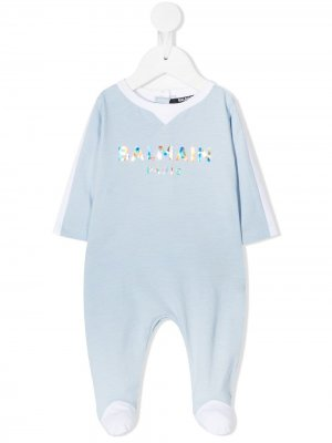 Пижама с логотипом Balmain Kids. Цвет: синий