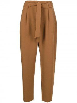 Зауженные брюки с поясом Pinko. Цвет: коричневый