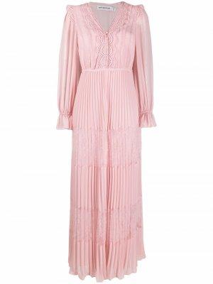 Платье макси с кружевной вставкой Self-Portrait. Цвет: розовый