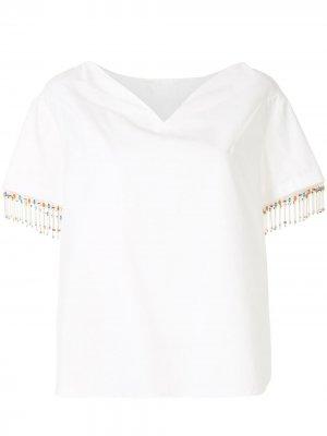 Декорированная футболка Delpozo. Цвет: белый