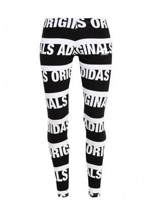 Леггинсы adidas Originals. Цвет: черно-белый