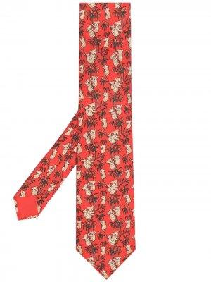 Галстук 2000-х годов с принтом Hermès. Цвет: красный