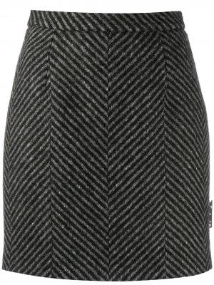 Юбка мини в диагональную полоску Off-White. Цвет: черный