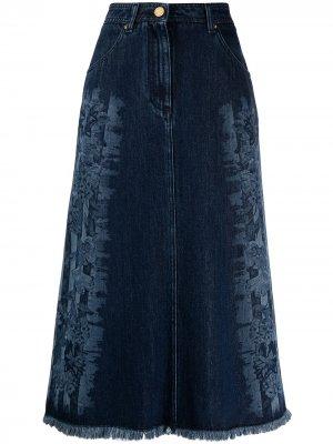 Джинсовая юбка с цветочным принтом Alberta Ferretti. Цвет: синий