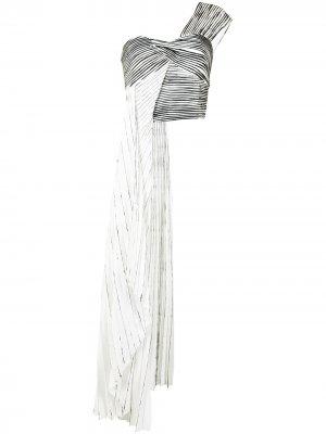 Плиссированный топ-бюстье с драпировкой и принтом Semsem. Цвет: белый