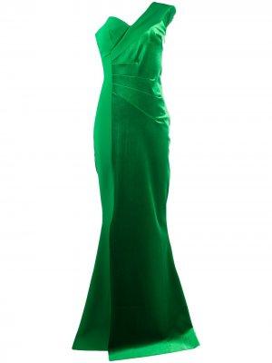 Платье макси на одно плечо Le Petite Robe Di Chiara Boni. Цвет: зеленый