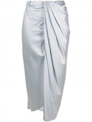 Атласная юбка миди с драпировкой Helmut Lang. Цвет: синий