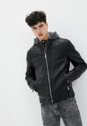 Куртка кожаная Tony Backer. Цвет: черный