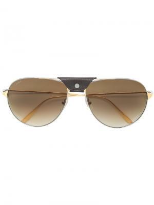 Классические солнцезащитные очки-авиаторы Cartier. Цвет: металлик