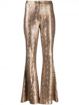 Расклешенные брюки с принтом змеиной кожи In The Mood For Love. Цвет: золотистый