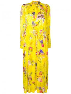 Расклешенное платье Lupin с цветочным принтом Preen By Thornton Bregazzi. Цвет: желтый