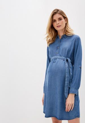 Платье джинсовое Mamalicious. Цвет: голубой