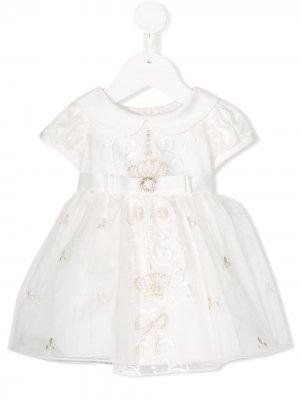Декорированное платье с короткими рукавами Lesy. Цвет: белый