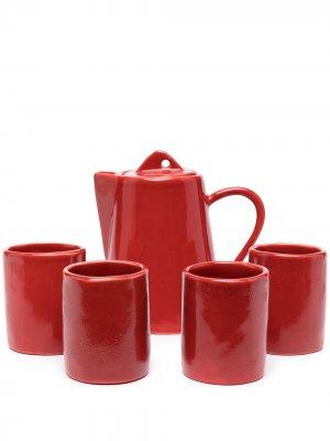 Набор из четырех чайных чашек и чайника Off-White. Цвет: красный