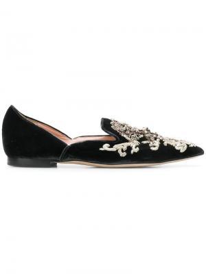 Туфли с вышивкой Alberta Ferretti. Цвет: черный