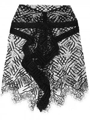Кружевная мини-юбка Michelle Mason. Цвет: черный