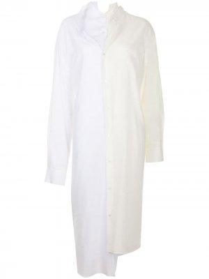 Рубашка в двух тонах Junya Watanabe. Цвет: белый