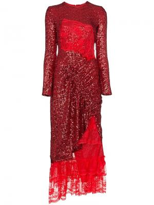 Присборенное платье с кружевной вставкой Mae Preen By Thornton Bregazzi. Цвет: красный