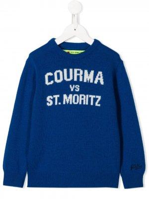 Джемпер с вышивкой Mc2 Saint Barth Kids. Цвет: синий
