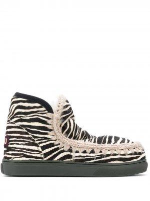 Ботинки Eskimo с зебровым принтом Mou. Цвет: черный