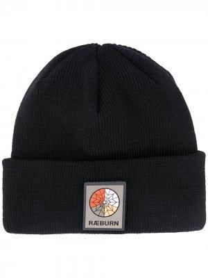 Шапка бини в рубчик с нашивкой-логотипом Raeburn. Цвет: черный