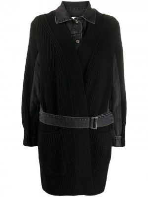 Джинсовое пальто со вставками в рубчик Sacai. Цвет: черный