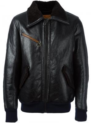 Кожаная куртка бомбер Golden Goose Deluxe Brand. Цвет: черный