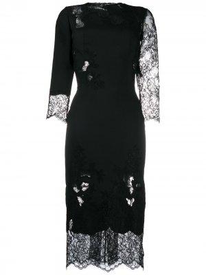 Платье с кружевными вставками Ermanno Scervino. Цвет: черный