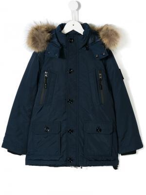 Fur trim parka Diadora Junior. Цвет: синий