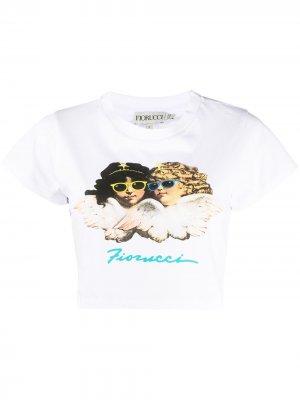 Укороченная футболка с логотипом Fiorucci. Цвет: белый