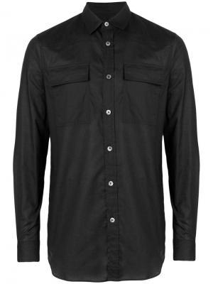 Рубашка с карманами клапанами Ann Demeulemeester. Цвет: черный