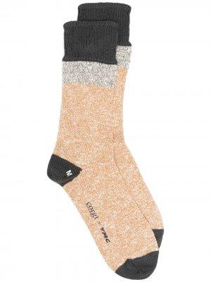 Меланжевые носки из коллаборации с Corgi YMC. Цвет: желтый