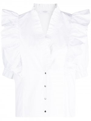 Рубашка с оборками Roseanna. Цвет: белый