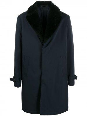 Пальто с меховой отделкой Brioni. Цвет: синий