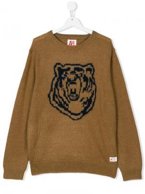 Вязаный свитер с медведем American Outfitters Kids. Цвет: коричневый