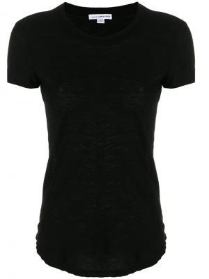 Тонкая футболка с фактурной выделкой James Perse. Цвет: черный