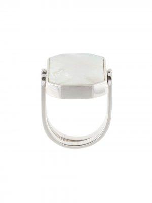 Кольцо с восьмиугольной вставкой Julia Davidian. Цвет: серебристый