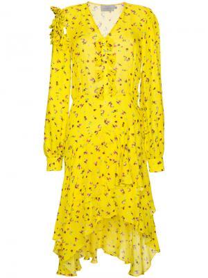 Асимметричное платье с цветочным принтом Margo Preen By Thornton Bregazzi. Цвет: желтый