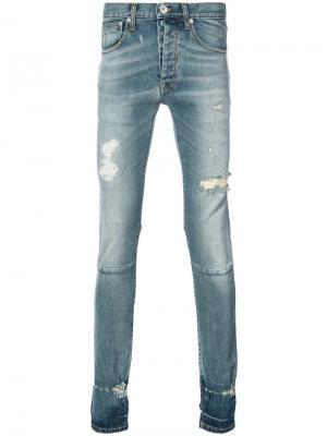 Рваные джинсы узкого кроя Unravel Project. Цвет: синий