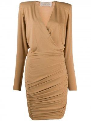 Платье с V-образным вырезом и сборками Alexandre Vauthier. Цвет: нейтральные цвета