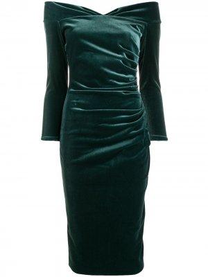 Приталенное платье с открытыми плечами Le Petite Robe Di Chiara Boni. Цвет: зеленый