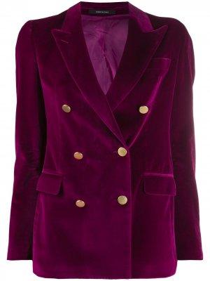 Бархатный двубортный пиджак Tagliatore. Цвет: фиолетовый