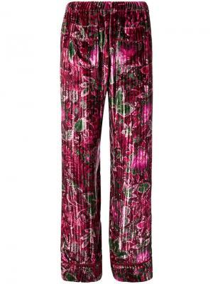 Бархатные пижамные брюки с цветочным узором F.R.S For Restless Sleepers. Цвет: розовый