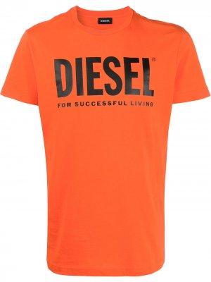 Футболка с круглым вырезом и логотипом Diesel. Цвет: оранжевый