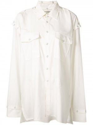 Рубашка оверсайз с карманами Maison Mihara Yasuhiro. Цвет: белый