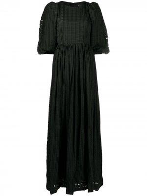 Платье макси Isa в клетку гингем Stine Goya. Цвет: черный