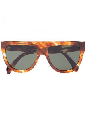 Солнцезащитные очки с эффектом черепашьего панциря Celine Eyewear. Цвет: коричневый
