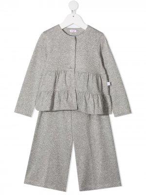 Комплект из кардигана и брюк Il Gufo. Цвет: серый